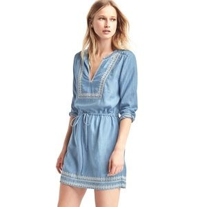GAP Tencel Embroidered Chambray Dress